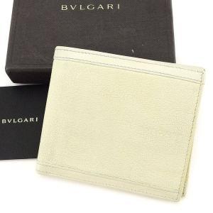 ブルガリ Bvlgari 財布 二つ折り財布 ベージュ レディース メンズ 中古