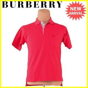 バーバリー Burberry ポロシャツ ホース刺繍 M レッド系 メンズ 中古