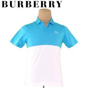 バーバリー Burberry ポロシャツ ホースマーク 2 ブルー ホワイト 白 メンズ 中古