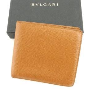 ブルガリ Bvlgari 財布 二つ折り財布 クラシコ ロゴ キャメル メンズ 中古