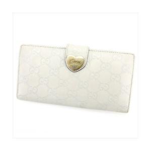0084cfe650e1 グッチ Gucci 財布 長財布 グッチシマ ホワイト 白 ベージュ レディース 中古