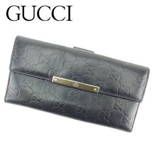 グッチ Gucci 財布 長財布 グッチシマ ブラック レディース メンズ 中古