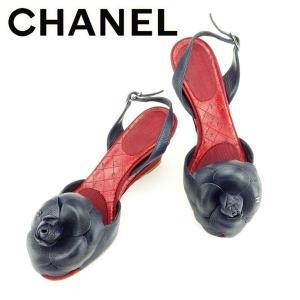 318de6bdc71d シャネル Chanel サンダル カメリア 35 ネイビー レッド シルバー レディース 中古 Sandals