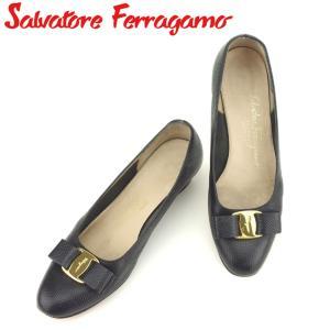 ポイント5倍 サルヴァトーレ フェラガモ Salvatore Ferragamo パンプス シューズ 靴 レディース ♯7C リザード調 ヴァラリボン 中古|branddepot