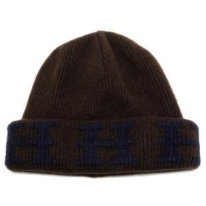 新品同様 エルメス 帽子 Hロゴ ニット帽 ニットキャップ #LA ネイビー ブラウン カシミヤ 茶色 Hマーク HERMES メンズ レディース Lサイズ|brandeal