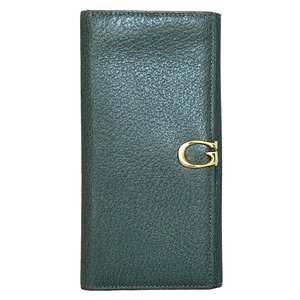 85fa0fecde5e 美品 グッチ 長財布 グリーン 緑 レザー 財布 レディース メンズ GUCCI G金具 両面財布 本革 二つ折り財布 二つ折り長財布