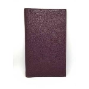 新品同様 エルメス アジャンダカバー 手帳カバー 手帳 ヴィジョン2 ヴィジョンII VisionII HERMES シェーブル ダークパープル 紫 メンズ|brandeal