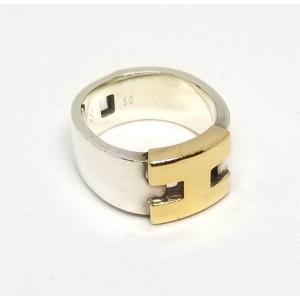 エルメス ヘラクレス リング コンビ 指輪 50 シルバー SV925 ゴールド 750YG Hモチーフ HERMES|brandeal