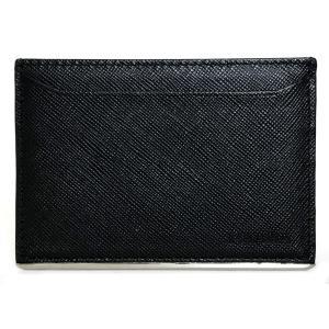美品 プラダ カードケース パスケース 定期入れ レザー ブラック 黒 メンズ サフィアーノ 型押し 名刺入れ マチなし PRADA 薄型 ロゴ|brandeal