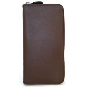 カード付 プラダ 長財布 メンズ ラウンドファスナー 財布 ブラウン レザー 2M1264 PRADA 本革 型押しレザー 茶色 大きめ ロゴ|brandeal