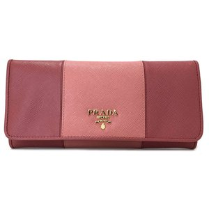 edc47dbf1266 未使用 プラダ 長財布 サフィアーノ レザー ピンク 財布 レディース 1M1132 PRADA バイカラー 二つ折り財布 二つ折り長財布 型押し ロゴ