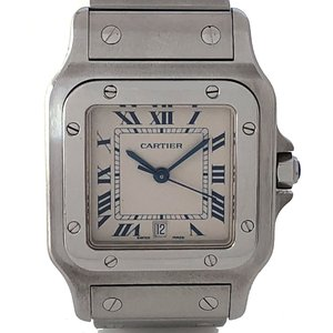 カルティエ サントスガルベ LM 時計 メンズ ウォッチ W20060D6 ステンレス SSブレス Carier クォーツ 観音開き 白文字盤 LARGO 腕時計
