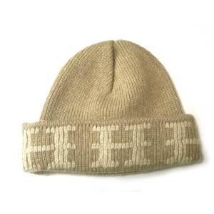 美品 エルメス 帽子 ニット帽 ニットキャップ ME ベージュ ME ニット帽子 Hマーク HERMES メンズ レディース|brandeal