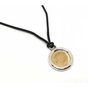 美品 エルメス ネックレス コード セリエ コンビ コイン シルバー 925 ゴールド 750YG 18金 ペンダント レディース HERMES 美品|brandeal