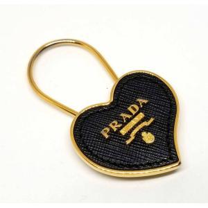 プラダ キーリング キーホルダー レザー ブラック ゴールド 黒 ロゴ PRADA レディース|brandeal