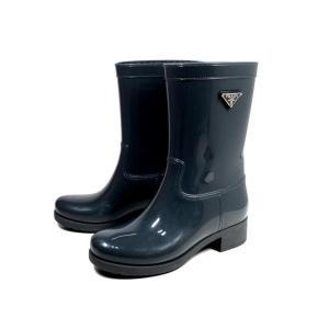 【値下げ】プラダ レインブーツ 長靴 ラバー グレー プレート付|brandeal
