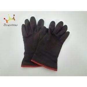 177b70a99bbe コーチ COACH 手袋 6.5 レディース ダークブラウン×レッド レザー×カシミヤ 値下げ 20190223