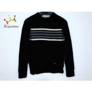 バーバリーブルーレーベル 長袖セーター サイズ38 M レディース 黒×アイボリー×グレー     ...