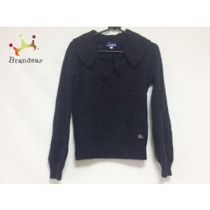 バーバリーブルーレーベル 長袖セーター サイズ38 M レディース 黒×ピンク 刺繍/リボン    ...