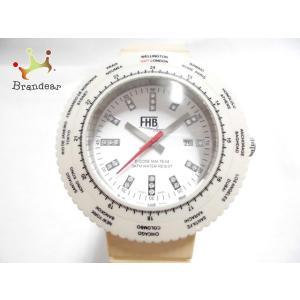 d2bd596402 エフエイチビー FHB 腕時計 F-504 レディース ラバーベルト/ラインストーン 白 新着 20190614