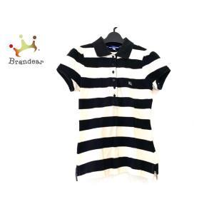 バーバリーブルーレーベル 半袖ポロシャツ サイズ38 M レディース 黒×アイボリー ボーダー   ...