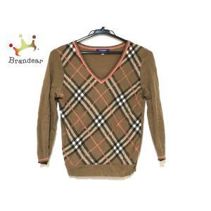 バーバリーブルーレーベル 長袖セーター サイズM レディース ブラウン×ピンク×マルチ  値下げ 2...