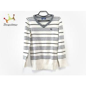 バーバリーブルーレーベル 長袖セーター サイズ38 M レディース アイボリー×グレー×黒 新着 2...
