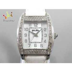 フォリフォリ FolliFollie 腕時計 レディース 革ベルト/ラインストーン 白   スペシャ...