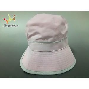 バーバリーゴルフ BURBERRYGOLF ニット帽 57.5 美品 ピンク×ライトグレー ポリエス...
