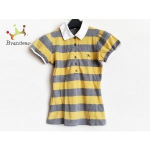 バーバリーブルーレーベル 半袖ポロシャツ サイズ38 M レディース イエロー×グレー×白 新着 2...