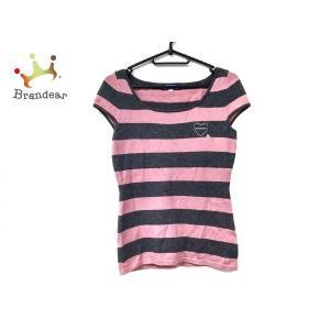 バーバリーブルーレーベル 半袖セーター サイズ38 M レディース 美品 - ピンク×ダークグレー ...