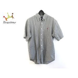 ラルフローレン 半袖シャツ サイズM メンズ 白×ネイビー×グリーン チェック柄/刺繍 新着 201...