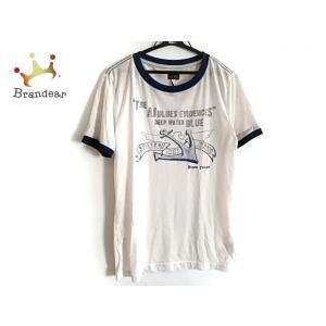 アルマーニジーンズ ARMANIJEANS 半袖Tシャツ サイズM メンズ 白×ネイビー 新着 20...