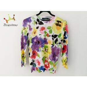 ラルフローレン 長袖セーター サイズS レディース 美品 アイボリー×パープル×マルチ 花柄 新着 20200325|brandear