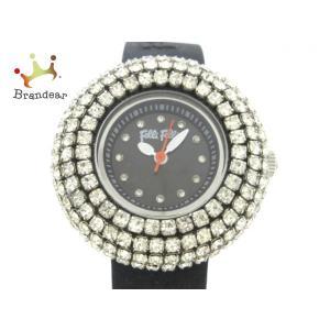 フォリフォリ 腕時計 美品 WF2P010ZS レディース ラインストーンベゼル&インデックス 黒 ...