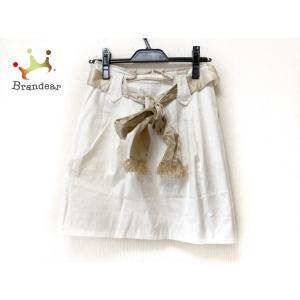 エポカ EPOCA スカート サイズ40 M レディース - 白×ゴールド ひざ丈/リボン/フリンジ   スペシャル特価 20200804|brandear
