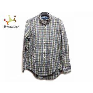 ラルフローレン 長袖シャツ サイズM メンズ グリーン×ライトブルー×マルチ チェック柄  値下げ 20200923|brandear