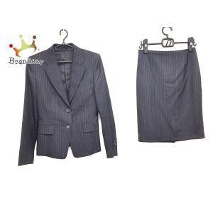 アンタイトル UNTITLED スカートスーツ サイズ3 L レディース 黒×白 ストライプ   スペシャル特価 20200818 brandear