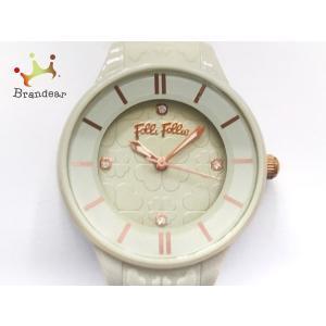 フォリフォリ FolliFollie 腕時計 美品 WF15P027ZSI レディース ライトグリー...