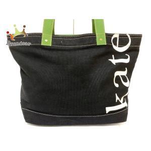 ケイトスペード Kate spade トートバッグ - 黒×白×ライトグリーン キャンバス 新着 20200723|brandear
