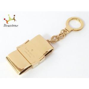 ケイトスペード Kate spade キーホルダー(チャーム) ゴールド×アイボリー リボン 金属素材  値下げ 20200925|brandear