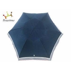 ラルフローレン 折りたたみ傘 - ダークネイビー×レッド ナイロン×金属素材×ウッド   スペシャル特価 20200924|brandear