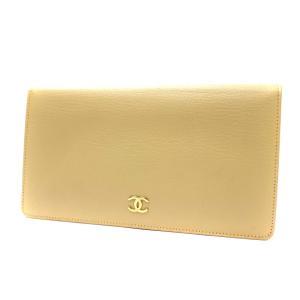 シャネル ココマーク 二つ折り財布 レディース レザー ベージュ A68706 中古 送料無料|brandeco