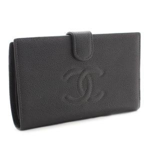 シャネル ココマーク がま口 二つ折り 長財布 レディース キャビアスキン ブラック A13498 中古 送料無料|brandeco