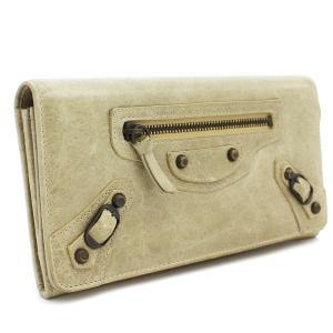 バレンシアガ 長財布 二つ折り財布 レディース レザー ベージュ 163471 中古 送料無料|brandeco