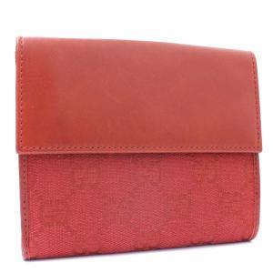 グッチ Wホック 二つ折り財布 レディース GGキャンバス レザー レッド 143387 中古 送料無料|brandeco