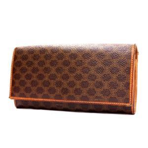 セリーヌ マカダム がま口 二つ折り財布 レディース PVCコーティングキャンバス レザー ブラウン M/99/1 中古|brandeco