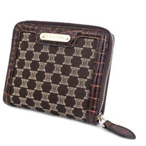 セリーヌ マカダム柄 クロコ型 二つ折り財布 レディース キャンバス レザー ブラウン 中古 送料無料|brandeco