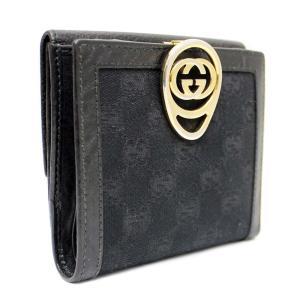 グッチ インターロキング Wホック 二つ折り財布 レディース GGキャンバス レザー ブラック ゴールド金具 224226     中古 送料無料|brandeco
