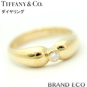 ティファニー 1ポイント ダイヤ デザイン リング 1Pダイヤ K18 約11号 レディース ジュエリー 750 指輪 中古